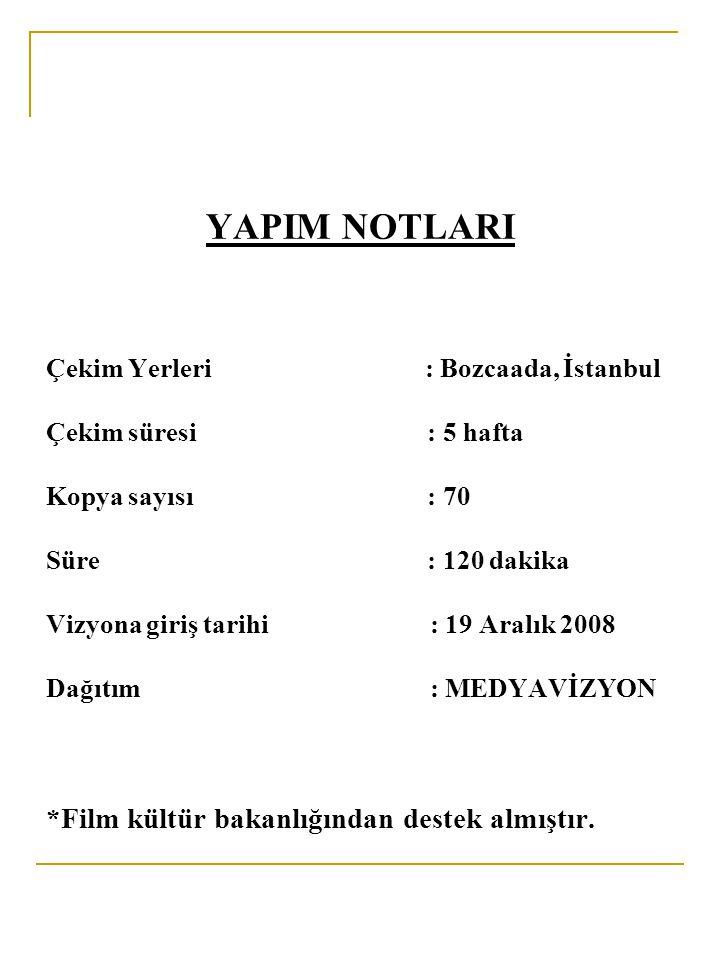 YAPIM NOTLARI Çekim Yerleri. : Bozcaada, İstanbul. Çekim süresi