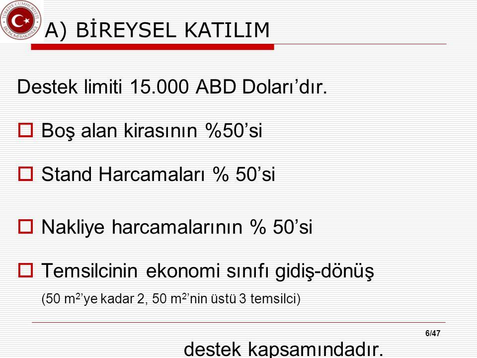 A) BİREYSEL KATILIM Destek limiti 15.000 ABD Doları'dır.