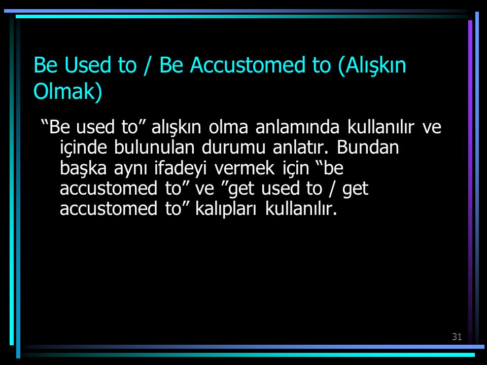 Be Used to / Be Accustomed to (Alışkın Olmak)
