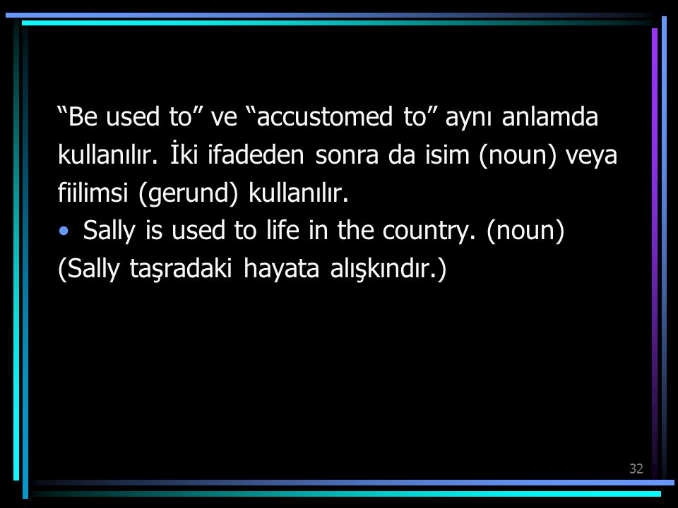 Be used to ve accustomed to aynı anlamda