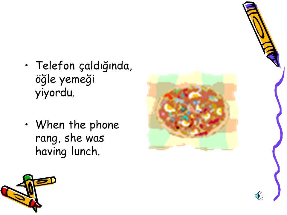 Telefon çaldığında, öğle yemeği yiyordu.
