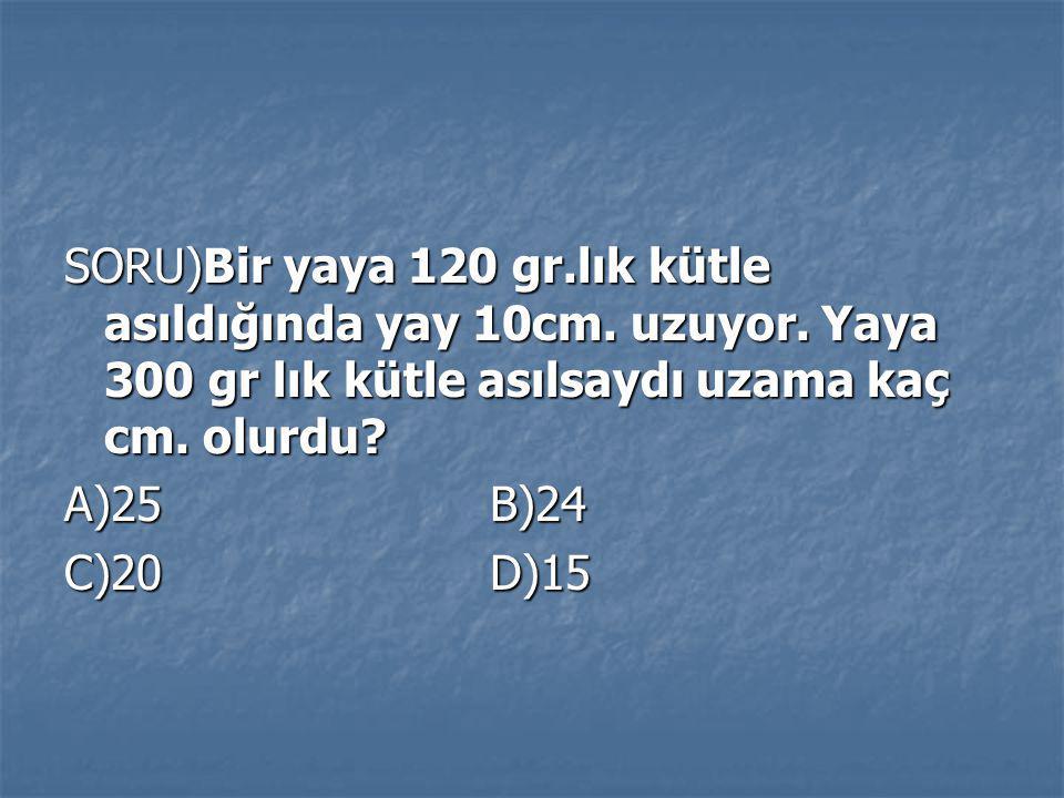 SORU)Bir yaya 120 gr. lık kütle asıldığında yay 10cm. uzuyor