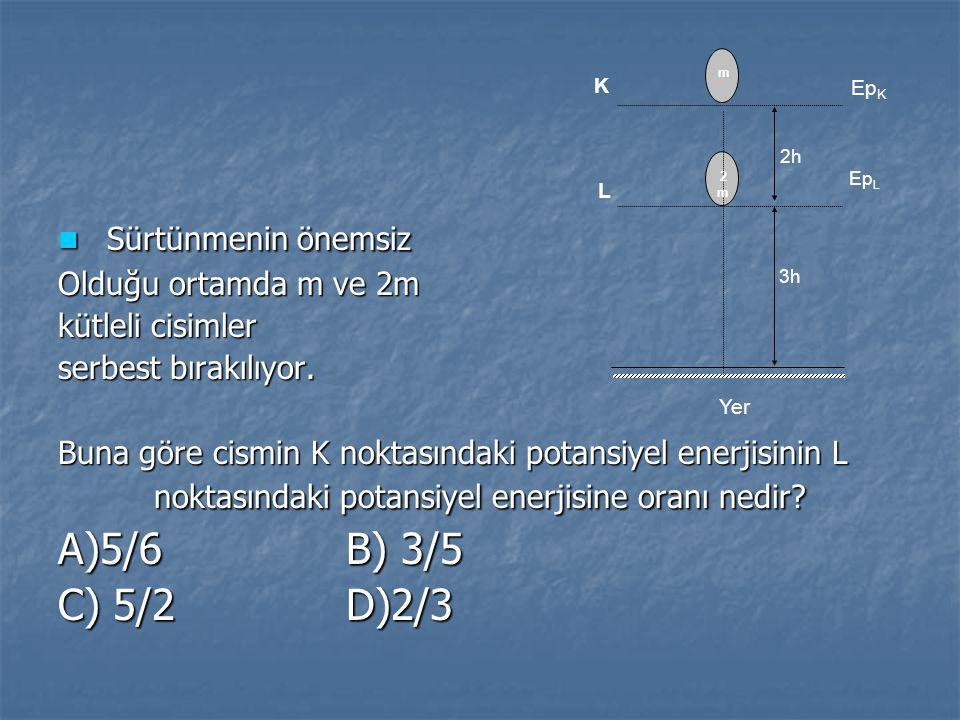 Sürtünmenin önemsiz A)5/6 B) 3/5 C) 5/2 D)2/3 Olduğu ortamda m ve 2m
