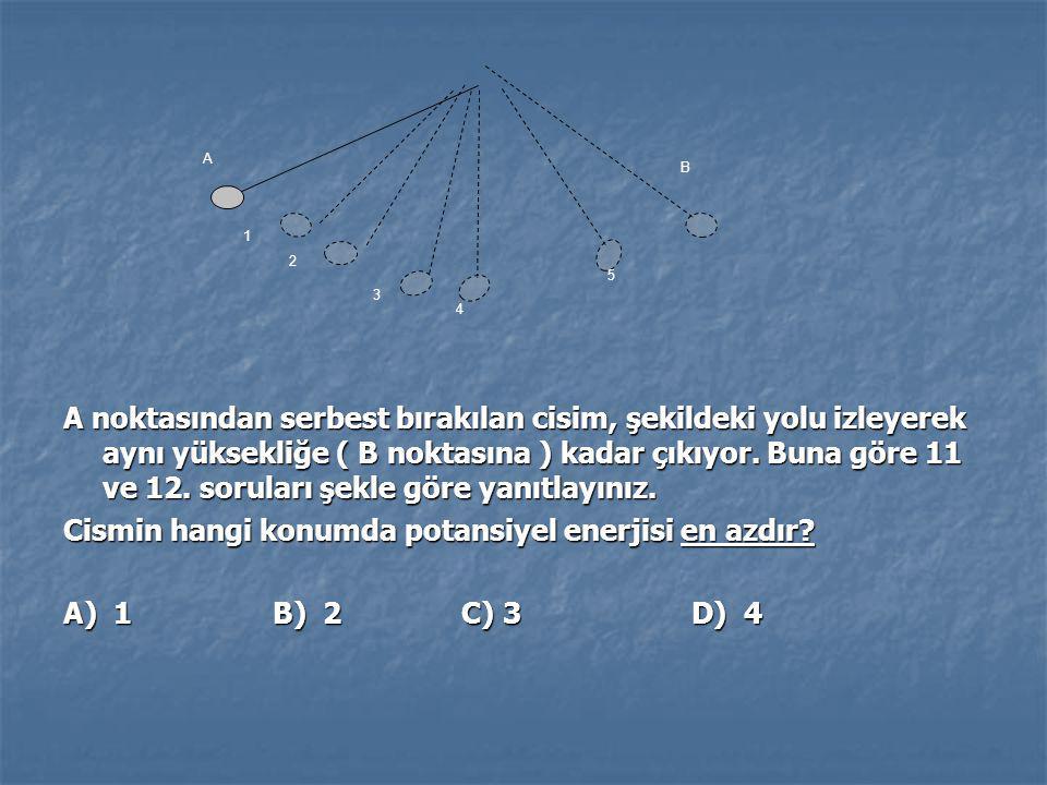 Cismin hangi konumda potansiyel enerjisi en azdır A) 1 B) 2 C) 3 D) 4