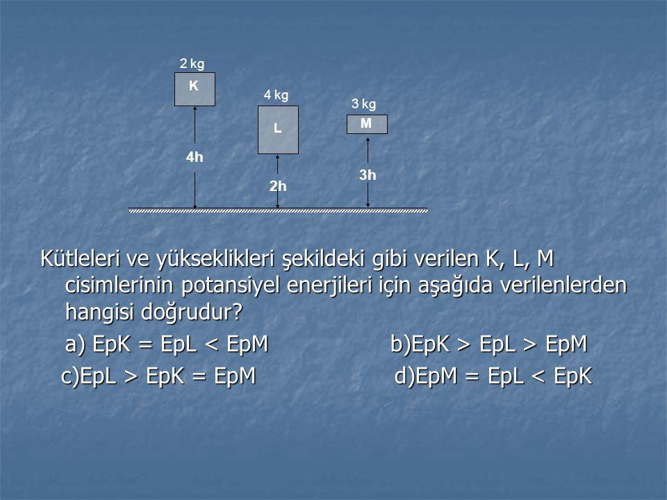 a) EpK = EpL < EpM b)EpK > EpL > EpM