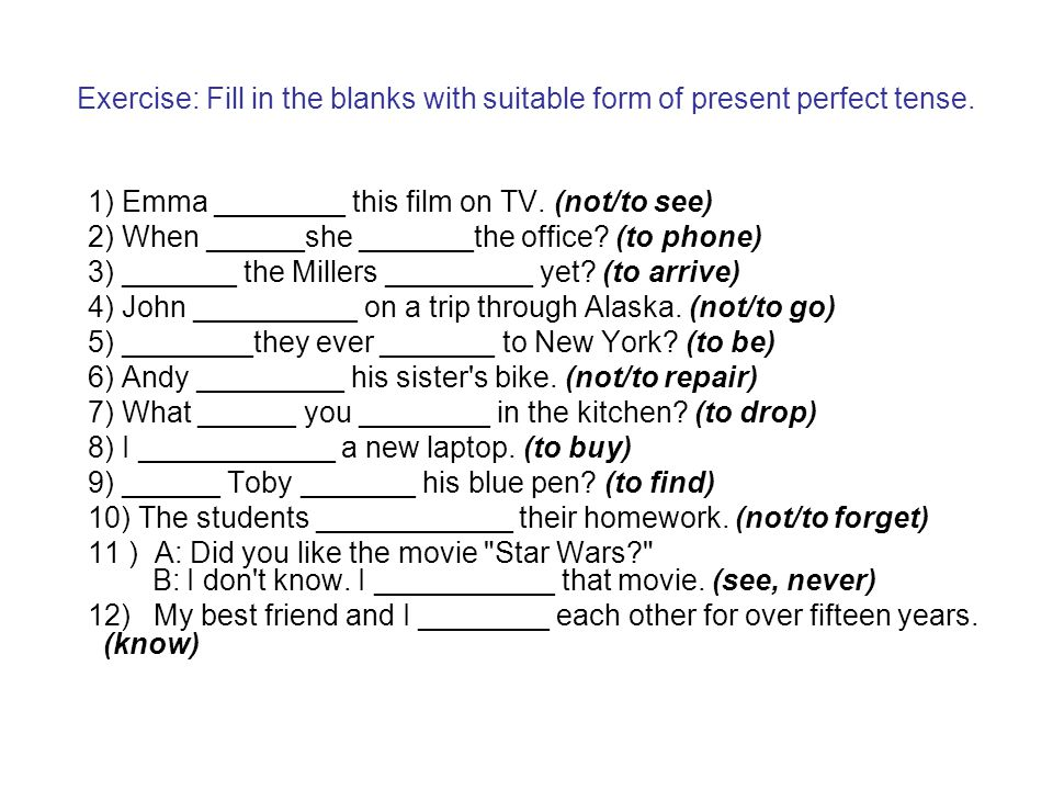 Exercise: Fill in the blanks with suitable form of present perfect tense.
