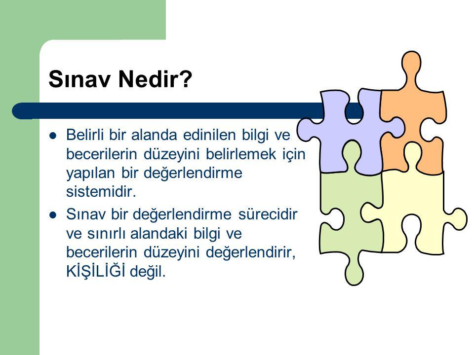 Sınav Nedir Belirli bir alanda edinilen bilgi ve becerilerin düzeyini belirlemek için yapılan bir değerlendirme sistemidir.