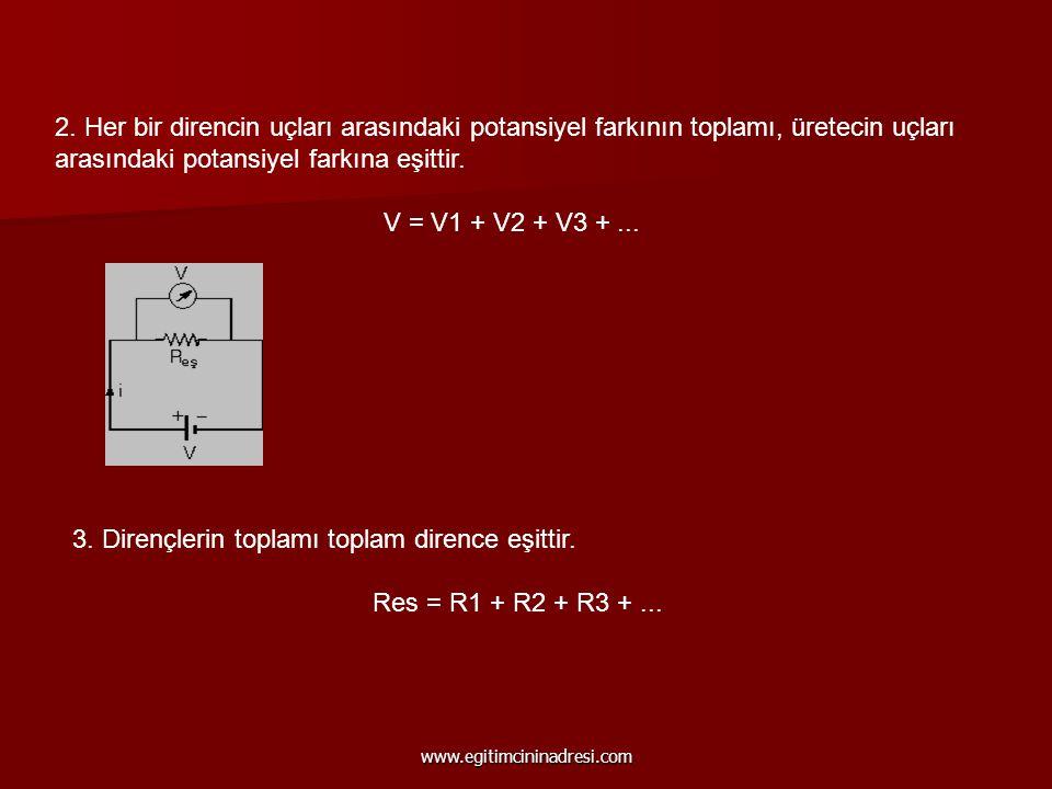 3. Dirençlerin toplamı toplam dirence eşittir.