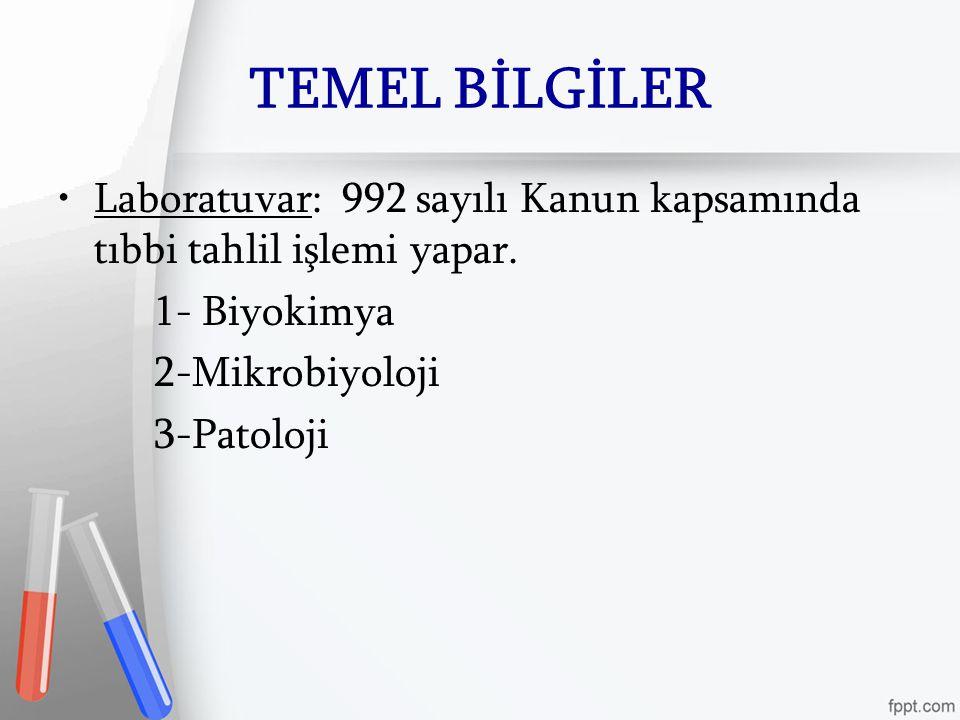 TEMEL BİLGİLER Laboratuvar: 992 sayılı Kanun kapsamında tıbbi tahlil işlemi yapar. 1- Biyokimya. 2-Mikrobiyoloji.