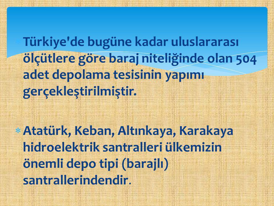 Türkiye de bugüne kadar uluslararası ölçütlere göre baraj niteliğinde olan 504 adet depolama tesisinin yapımı gerçekleştirilmiştir.