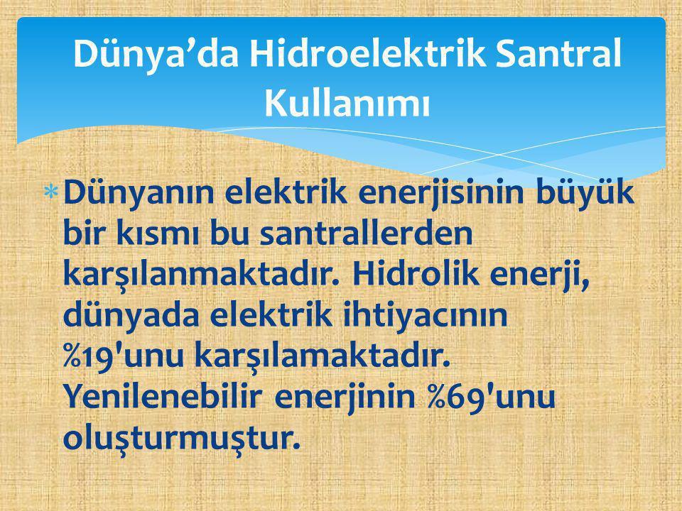 Dünya'da Hidroelektrik Santral Kullanımı