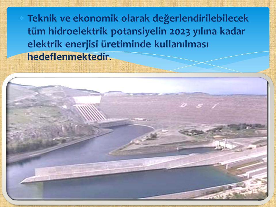 Teknik ve ekonomik olarak değerlendirilebilecek tüm hidroelektrik potansiyelin 2023 yılına kadar elektrik enerjisi üretiminde kullanılması hedeflenmektedir.