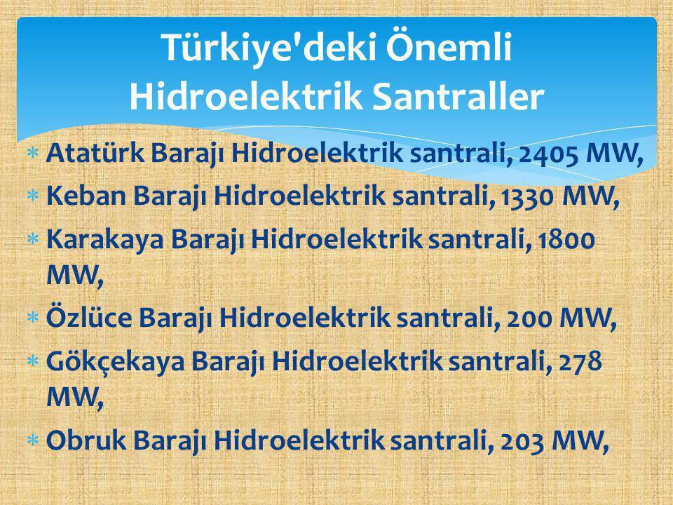 Türkiye deki Önemli Hidroelektrik Santraller