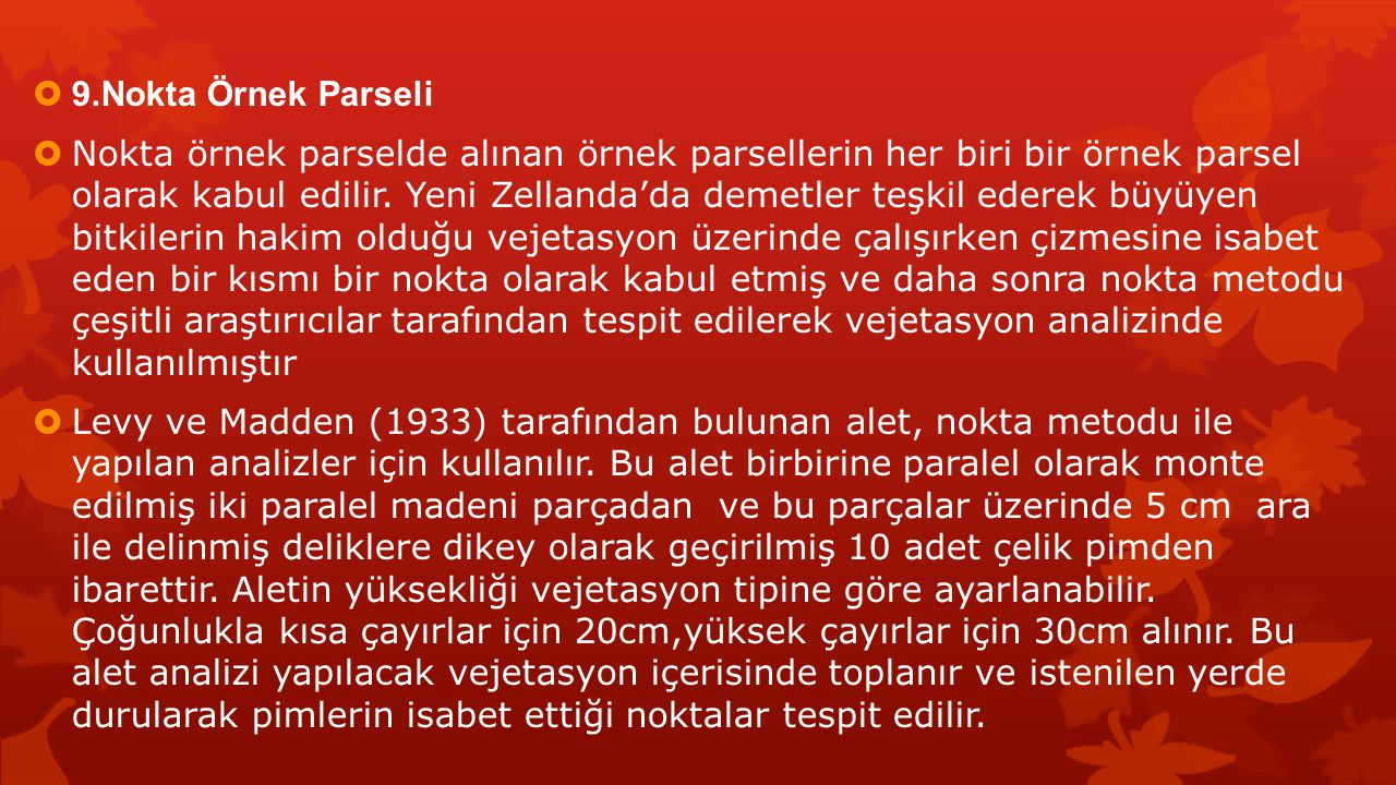 9.Nokta Örnek Parseli