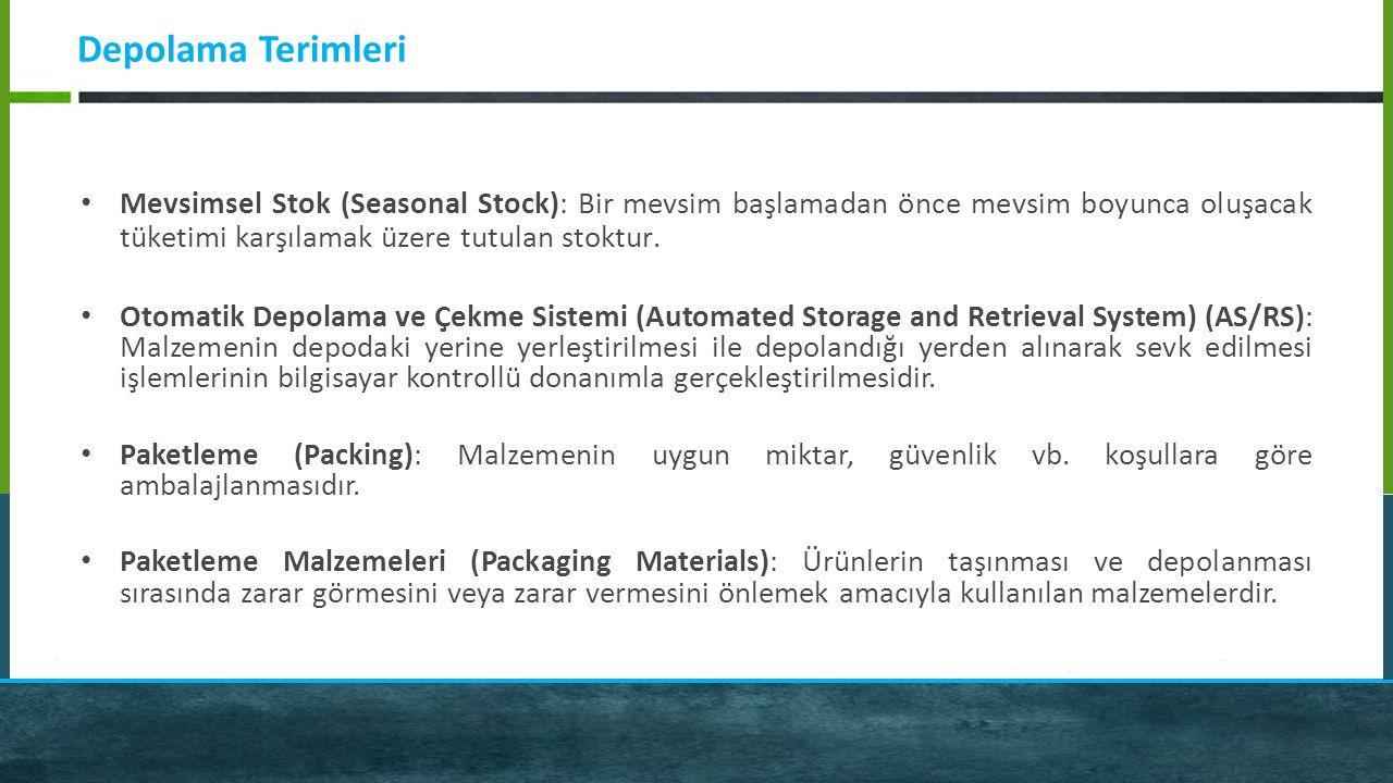 Depolama Terimleri Mevsimsel Stok (Seasonal Stock): Bir mevsim başlamadan önce mevsim boyunca oluşacak tüketimi karşılamak üzere tutulan stoktur.