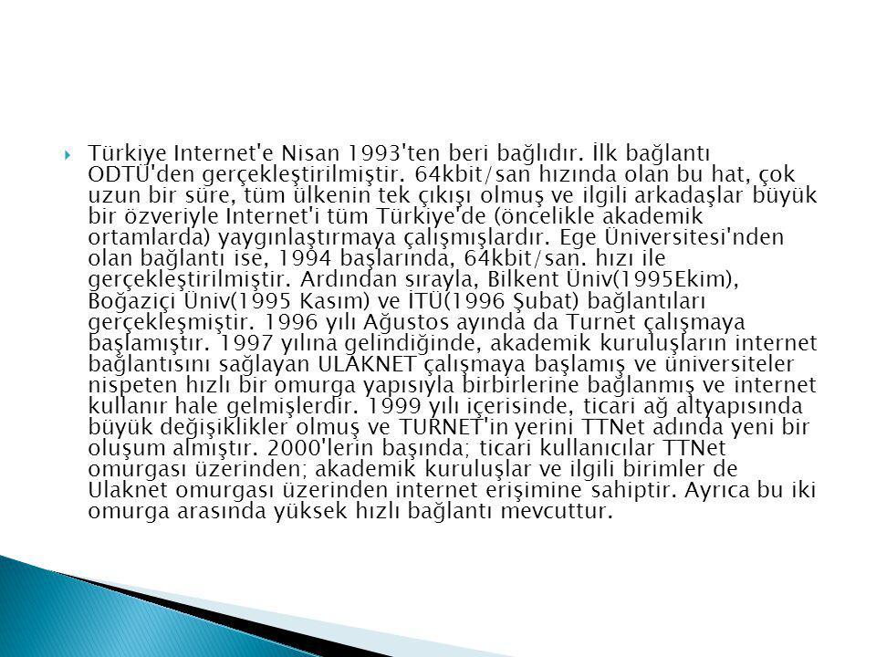 Türkiye Internet e Nisan 1993 ten beri bağlıdır