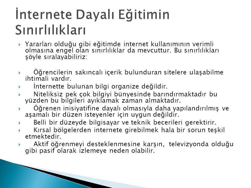 İnternete Dayalı Eğitimin Sınırlılıkları