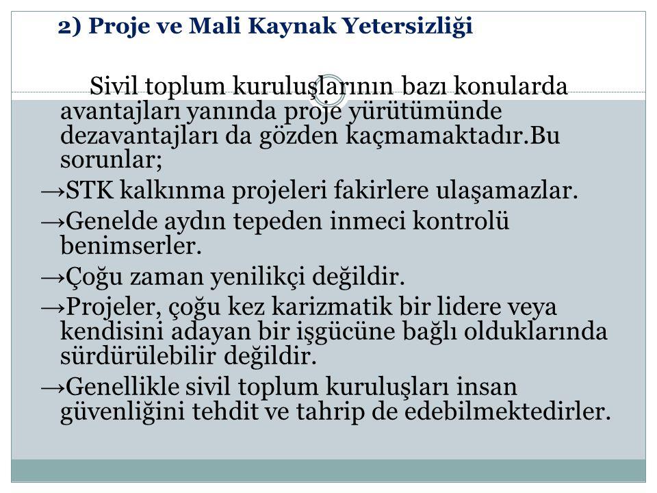 →STK kalkınma projeleri fakirlere ulaşamazlar.