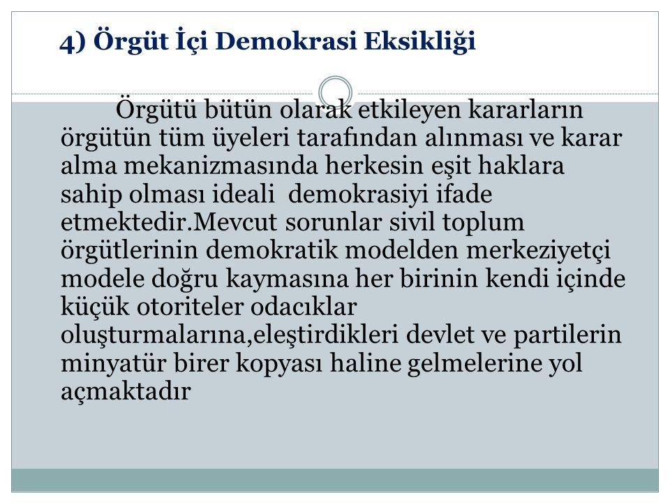 4) Örgüt İçi Demokrasi Eksikliği