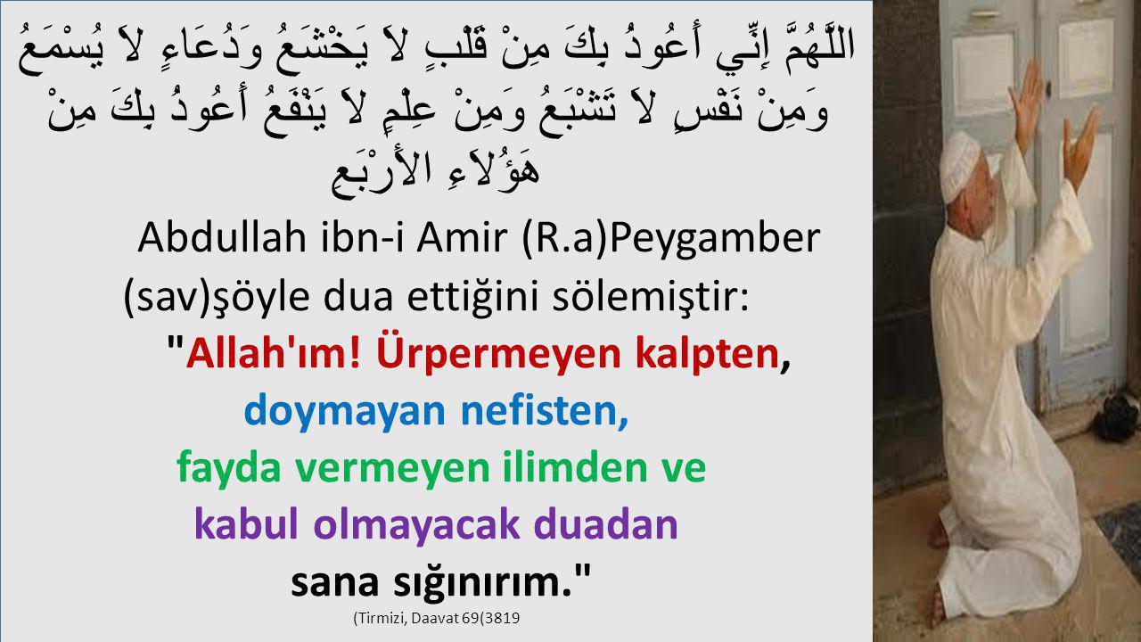 Abdullah ibn-i Amir (R.a)Peygamber (sav)şöyle dua ettiğini sölemiştir: