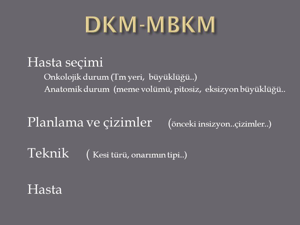 DKM-MBKM Hasta seçimi. Onkolojik durum (Tm yeri, büyüklüğü..) Anatomik durum (meme volümü, pitosiz, eksizyon büyüklüğü..