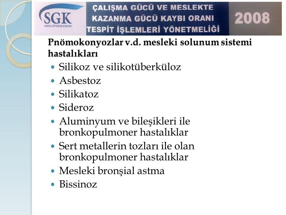 Pnömokonyozlar v.d. mesleki solunum sistemi hastalıkları