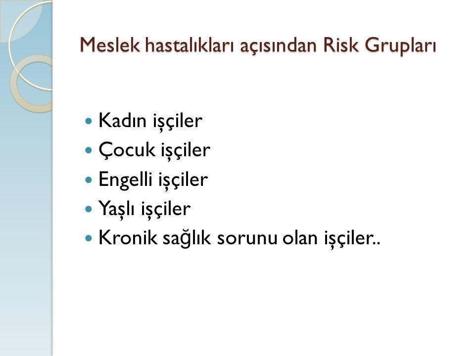 Meslek hastalıkları açısından Risk Grupları