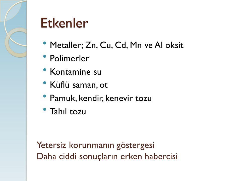 Etkenler Metaller; Zn, Cu, Cd, Mn ve Al oksit Polimerler Kontamine su