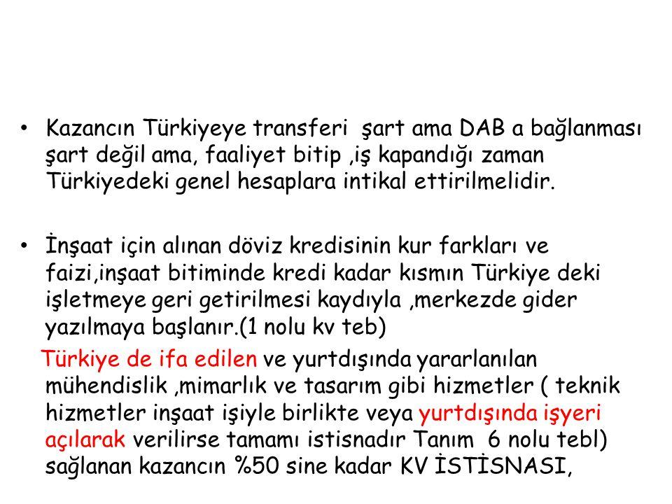 Kazancın Türkiyeye transferi şart ama DAB a bağlanması şart değil ama, faaliyet bitip ,iş kapandığı zaman Türkiyedeki genel hesaplara intikal ettirilmelidir.