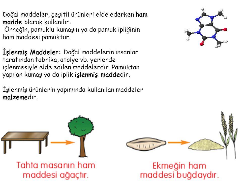 Doğal maddeler, çeşitli ürünleri elde ederken ham madde olarak kullanılır.