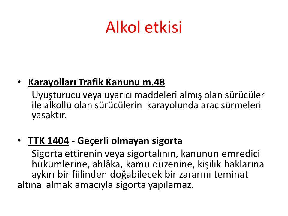 Alkol etkisi Karayolları Trafik Kanunu m.48