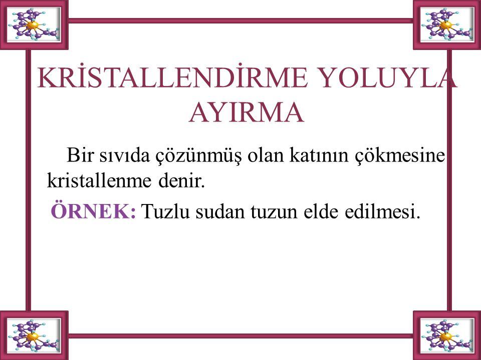 KRİSTALLENDİRME YOLUYLA AYIRMA