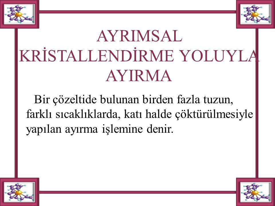 AYRIMSAL KRİSTALLENDİRME YOLUYLA AYIRMA