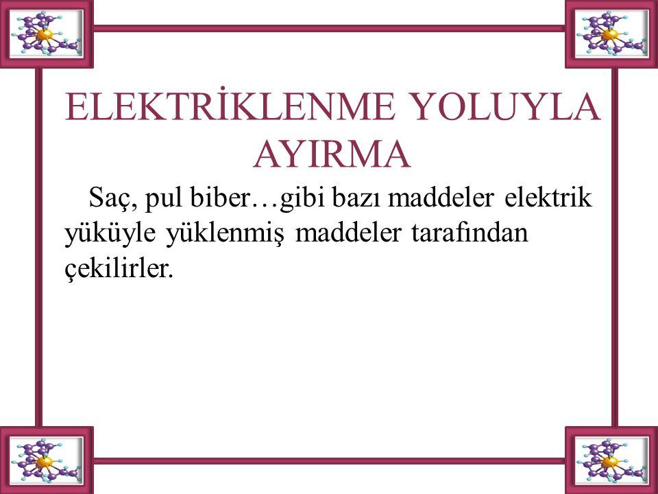 ELEKTRİKLENME YOLUYLA AYIRMA