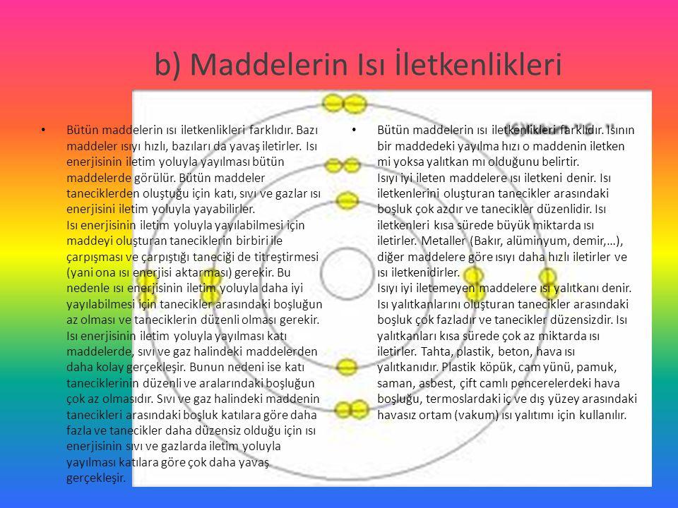 b) Maddelerin Isı İletkenlikleri