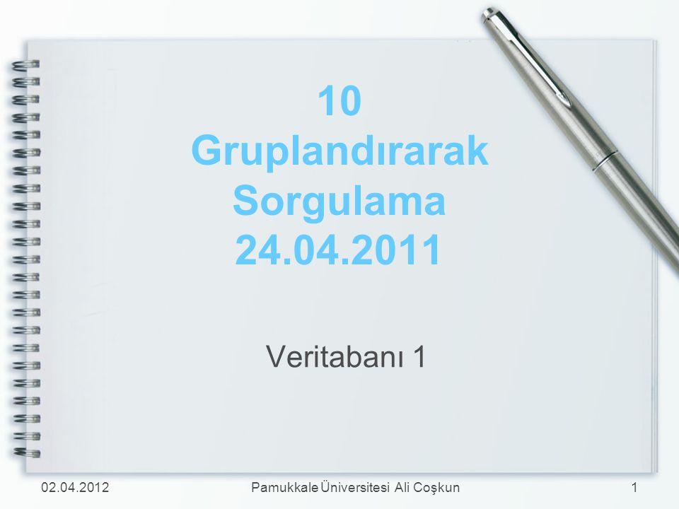 10 Gruplandırarak Sorgulama 24.04.2011