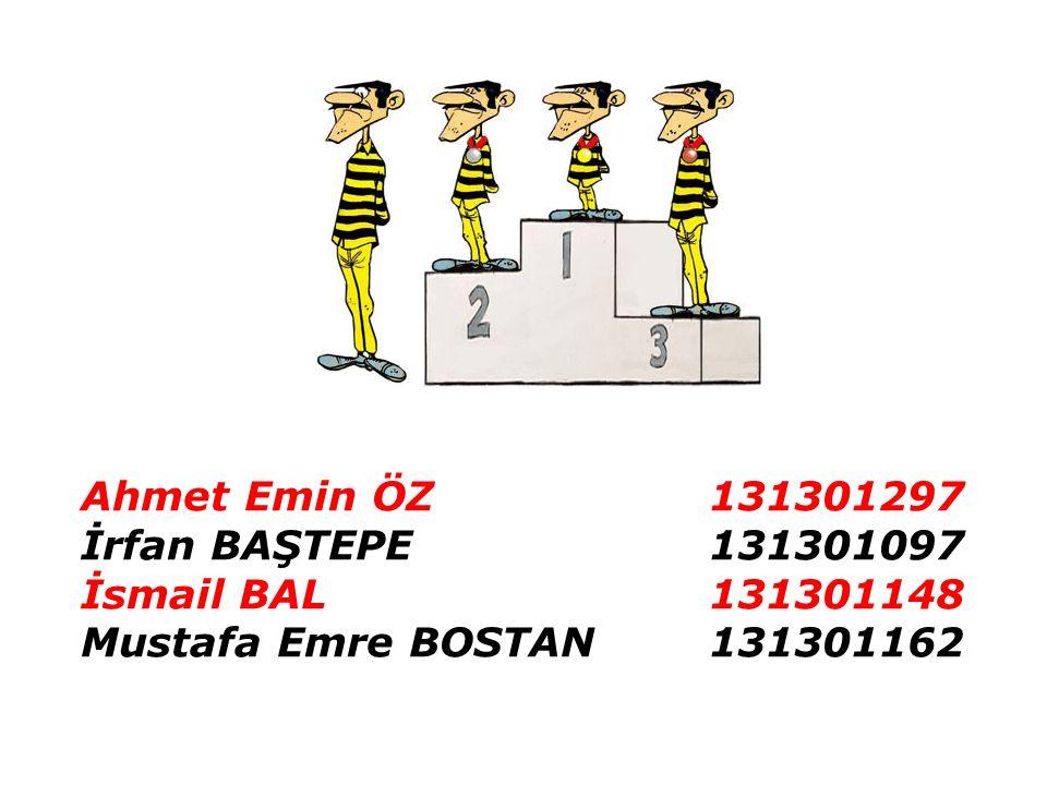 Ahmet Emin ÖZ 131301297 İrfan BAŞTEPE 131301097.