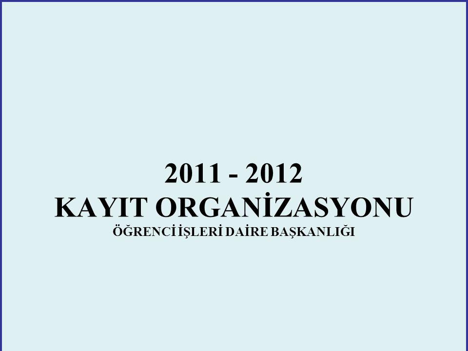 2011 - 2012 KAYIT ORGANİZASYONU ÖĞRENCİ İŞLERİ DAİRE BAŞKANLIĞI