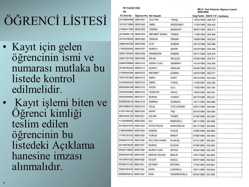 ÖĞRENCİ LİSTESİ Kayıt için gelen öğrencinin ismi ve numarası mutlaka bu listede kontrol edilmelidir.