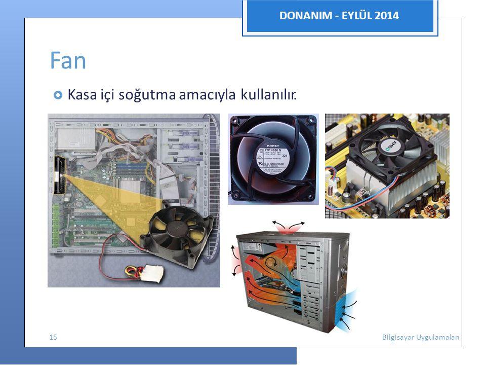 Fan DONANIM - EYLÜL 2014  Kasa içi soğutma amacıyla kullanılır.