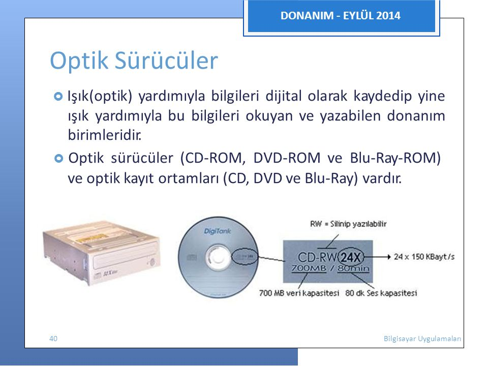  Optik sürücüler (CD-ROM, DVD-ROM ve Blu-Ray-ROM)