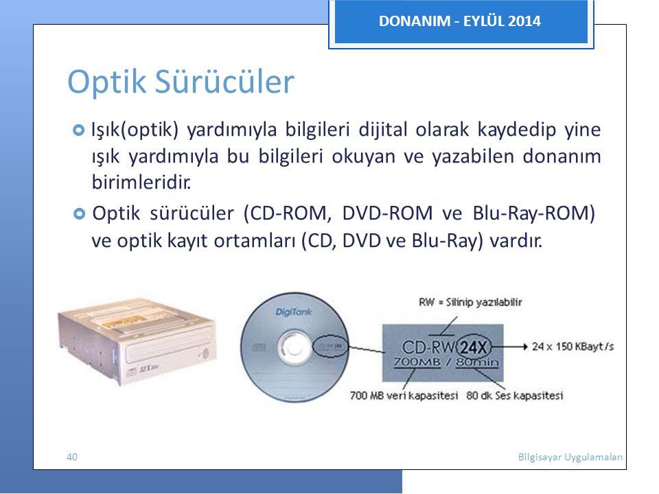  Optik sürücüler (CD-ROM, DVD-ROM ve Blu-Ray-ROM)