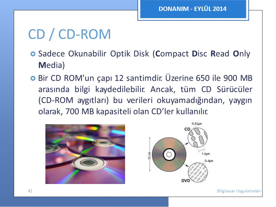  Sadece Okunabilir Optik Disk (Compact Disc Read Only