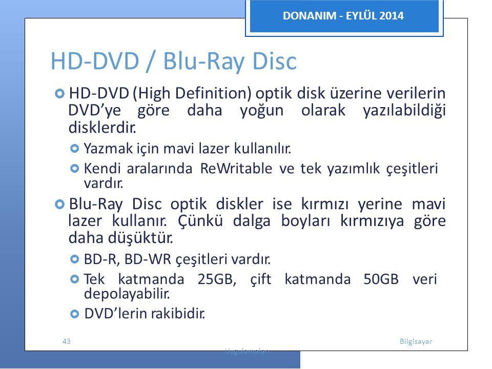 HD-DVD / Blu-Ray Disc DVD'ye göre daha yoğun olarak yazılabildiği