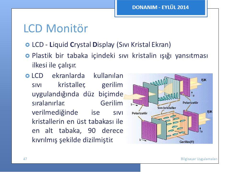 LCD Monitör ilkesi ile çalışır. DONANIM - EYLÜL 2014