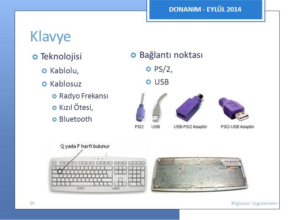 Klavye DONANIM - EYLÜL 2014  Teknolojisi  Bağlantı noktası
