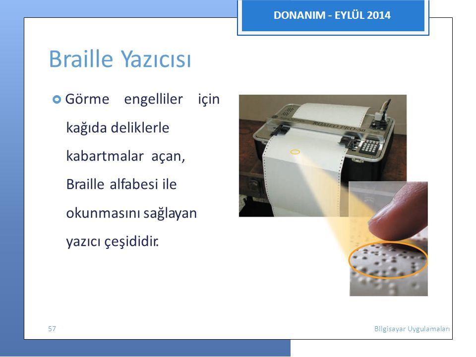 Braille Yazıcısı DONANIM - EYLÜL 2014 kağıda deliklerle