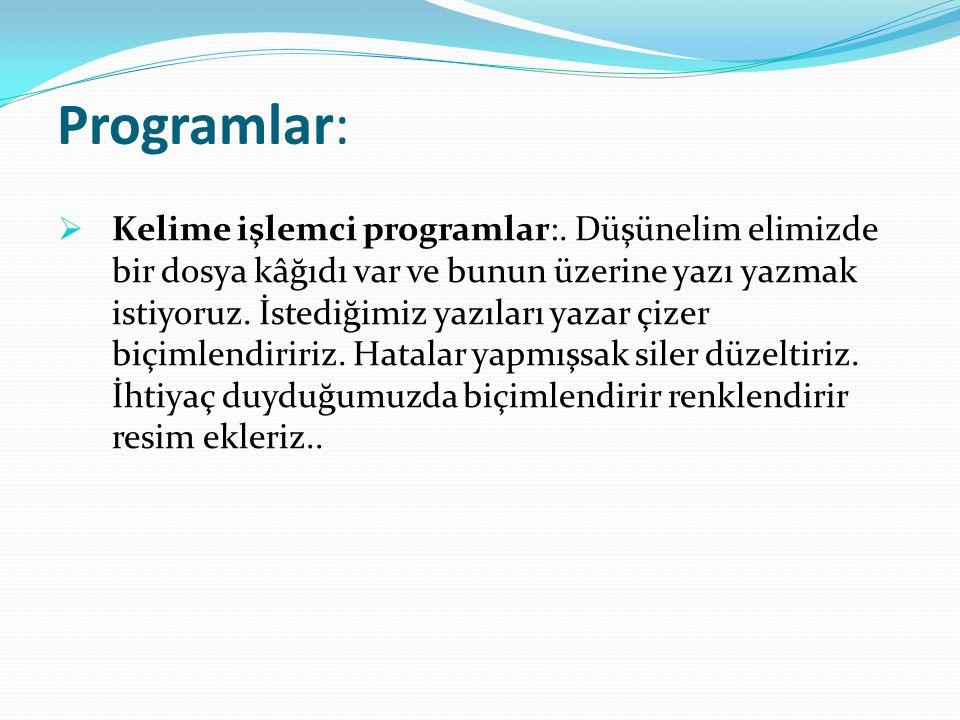 Programlar: