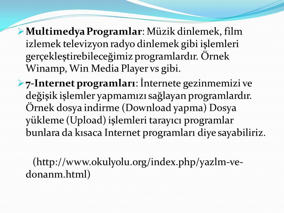Multimedya Programlar: Müzik dinlemek, film izlemek televizyon radyo dinlemek gibi işlemleri gerçekleştirebileceğimiz programlardır. Örnek Winamp, Win Media Player vs gibi.