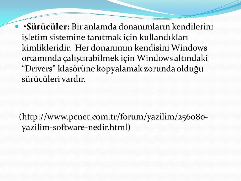 •Sürücüler: Bir anlamda donanımların kendilerini işletim sistemine tanıtmak için kullandıkları kimlikleridir. Her donanımın kendisini Windows ortamında çalıştırabilmek için Windows altındaki Drivers klasörüne kopyalamak zorunda olduğu sürücüleri vardır.